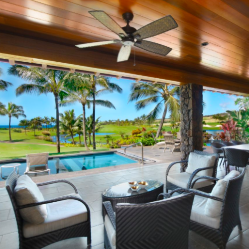 backyard with pool and golf course Airbnbs in Hawaii