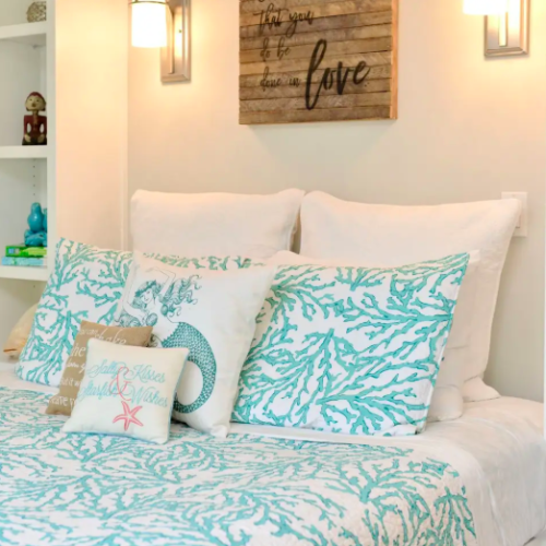 blue coral inspired bedding Airbnbs in Hawaii