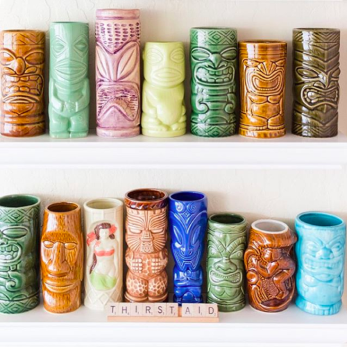 colorful tiki shot glasses Airbnbs in Hawaii