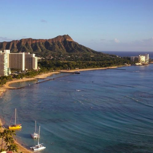 view of Diamond head and Waikiki Beach