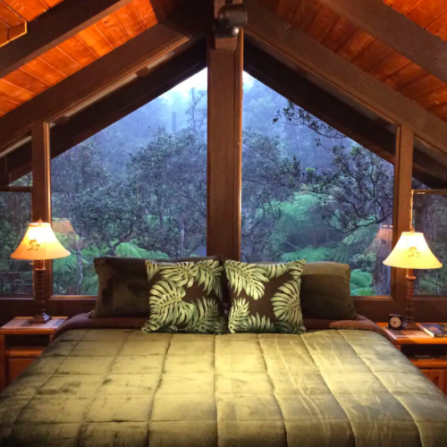 green bed with pillows in wooden home treehouses in Hawaii