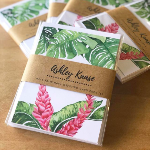 set of nature-inspired Mele Kalikimaka greeting cards by Hawaii artist Ashley Kaase