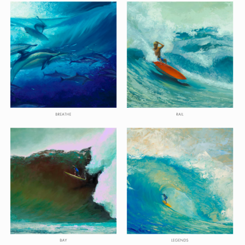 four different paintings by Hawaii artist Garret Kojima depicting Hawaii waves and ocean life