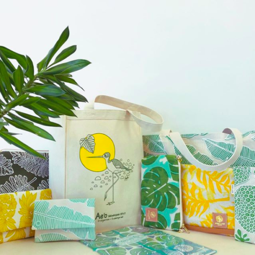 Selection of bags and pouches with Jana Lam print designs