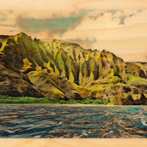 Hawaii artist Lannie Boesiger rendition of the Kalalau Trail on Kauai on wood