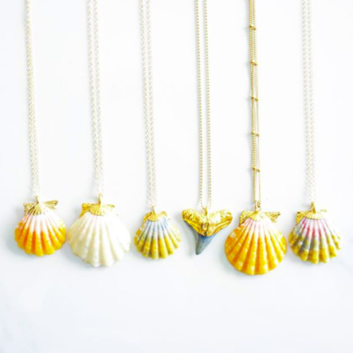 set of six necklaces with four sunrise shells, one white shell, and one black shark tooth, all dipped in a bit of gold