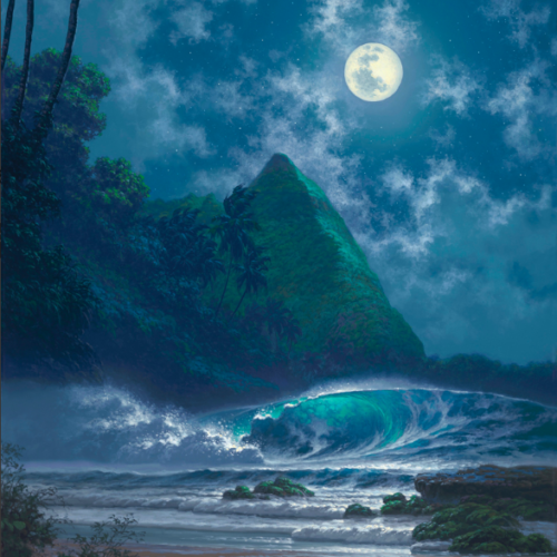 painting of a green mountain, moon, and waves at night