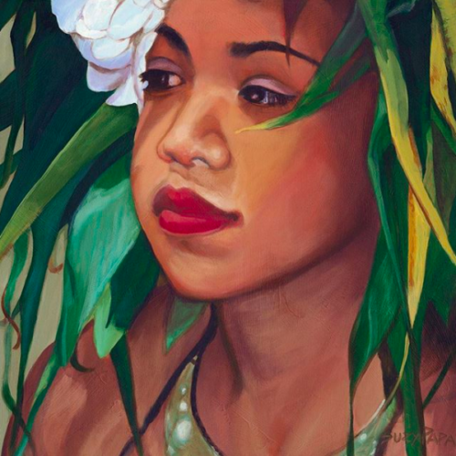 painting of Hawaiian hula girl by Hawaii artist by Suzy Papanikolas