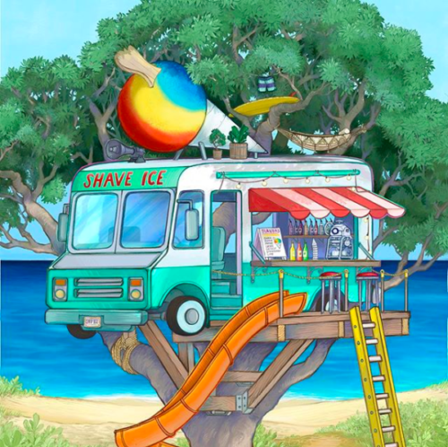 Hawaii artist Wooden Waves depiction of a shave ice treehouse