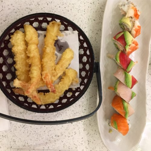 shrimp tempura and rainbow sushi roll Kauai restaurants