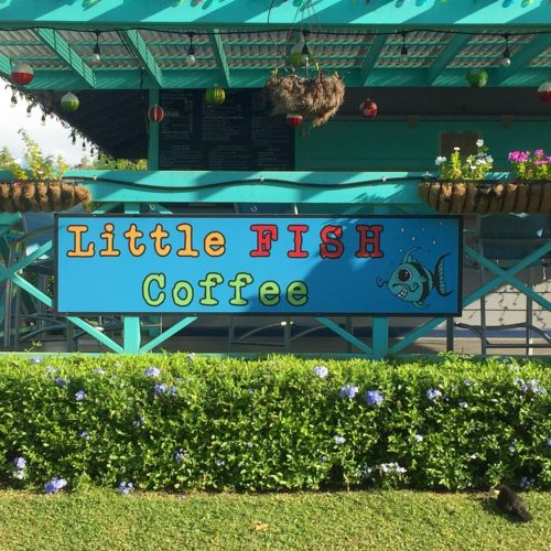 "patio area with sign that reads, ""little fish coffee"" with hedges in front Kauai restaurants"