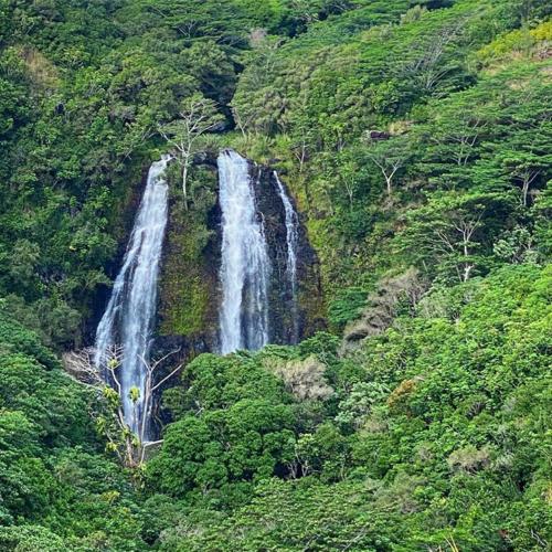 three sections of Opaekaa Falls on Kauai