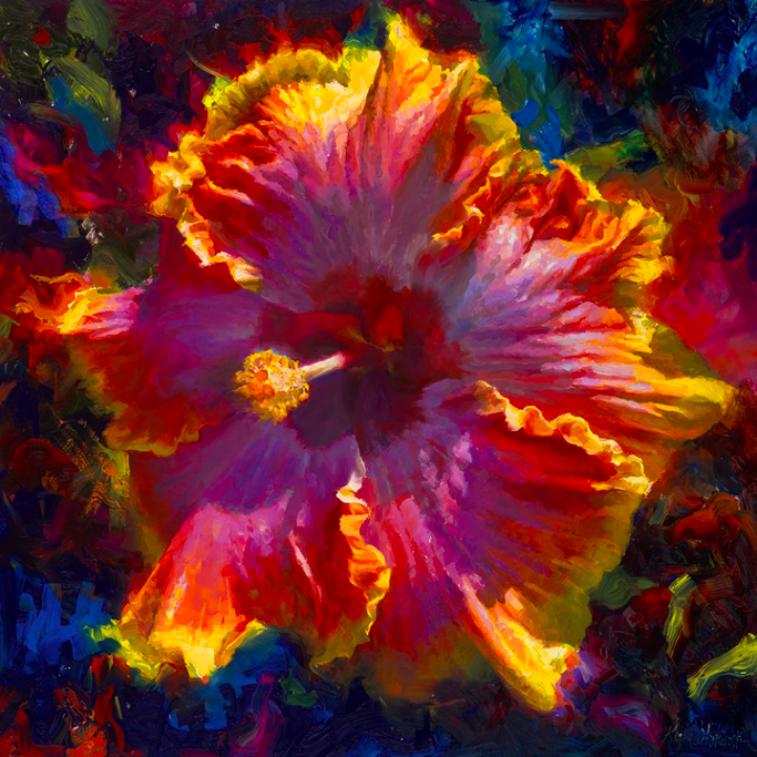 bright colorful hibiscus flower painted by Karen Whitworth Hawaii artist