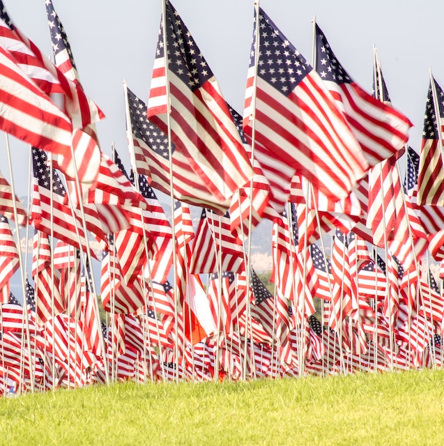 hundreds of american flags on alumni park at Pepperdine for 9/11