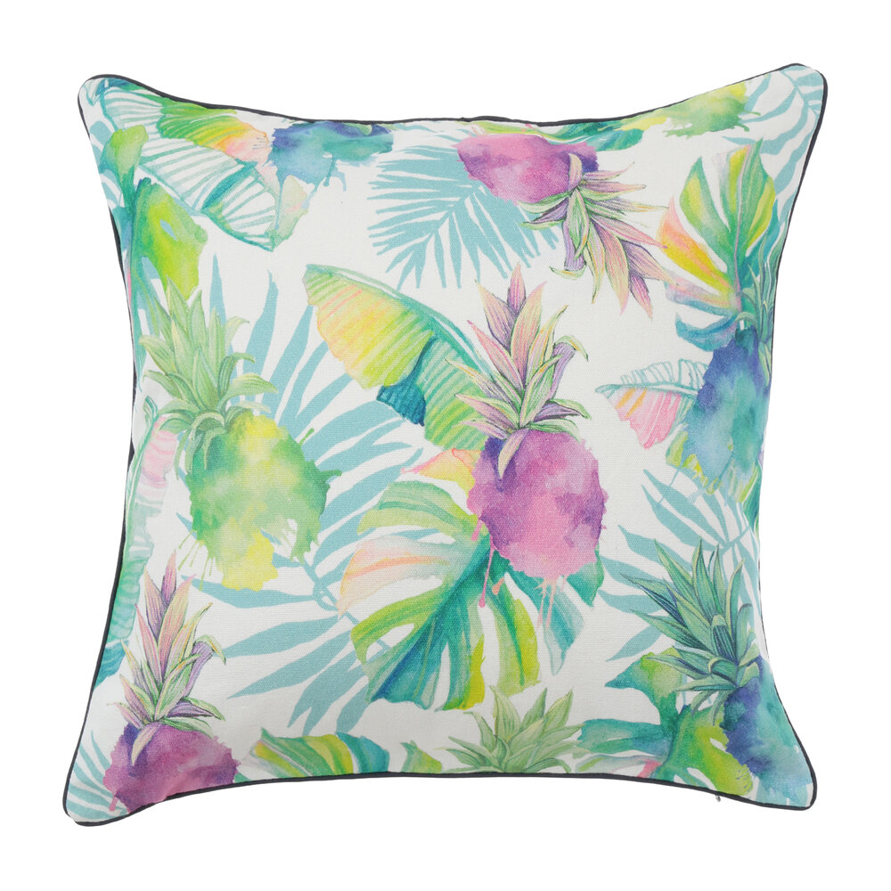 pillow with watercolor-like design with green leaves and purple pineapples