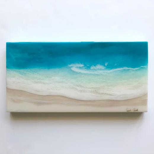 horizontal ocean resin piece by Sarah Caudle Hawaiian home decor