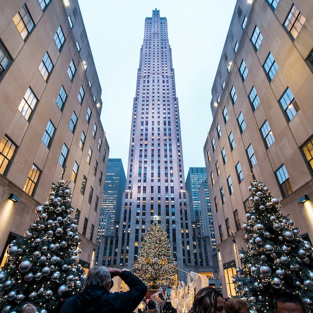 Rockefeller Plaza with tons of Christmas decorations