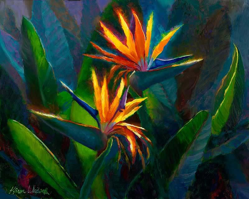 painting of a pair of birds of paradise