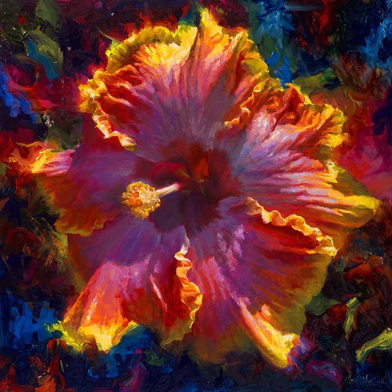 one brightly colored painting of a yellow, orange, and pink hibiscus Hawaiian flowers