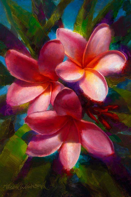 painting of three pink plumerias