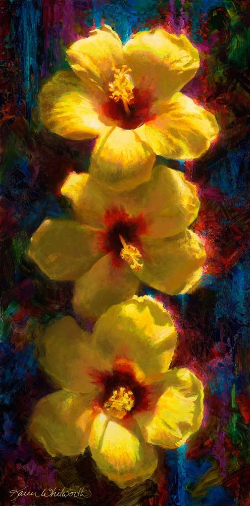 vertical trio of yellow hibiscuses Hawaiian flowers
