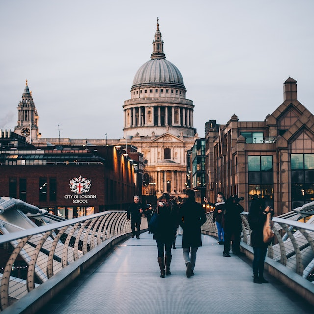 view of the dome of St. Paul's Cathedral from Millennium Bridge London bucket list things to do in London