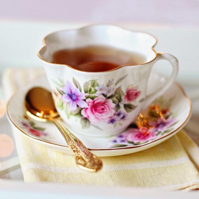 cup of tea in vintage cup