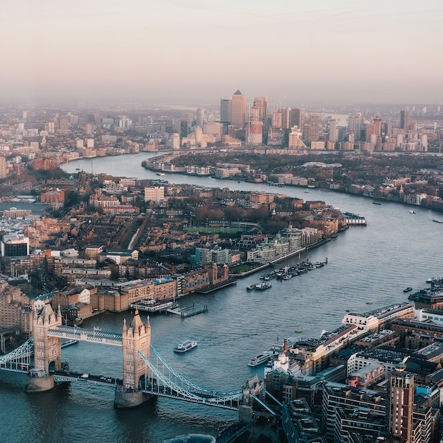 Thames River and city of London from above London bucket list things to do in London