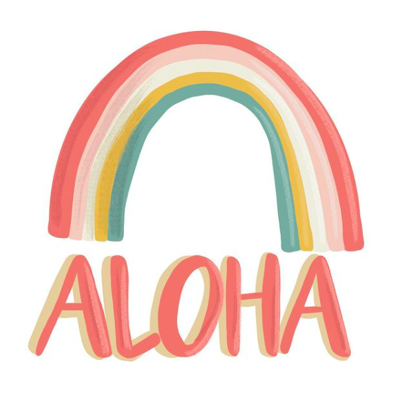 rainbow Aloha sticker from left right design Hawaii artist