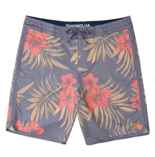 palm tree and hibiscus boardshorts