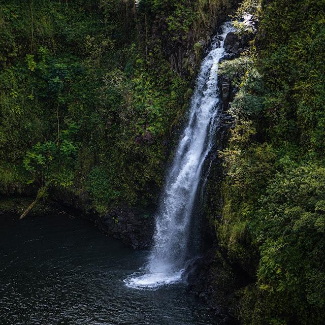 random waterfall in Maui