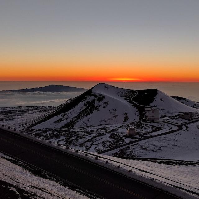 Mauna Kea with snow at sunrise