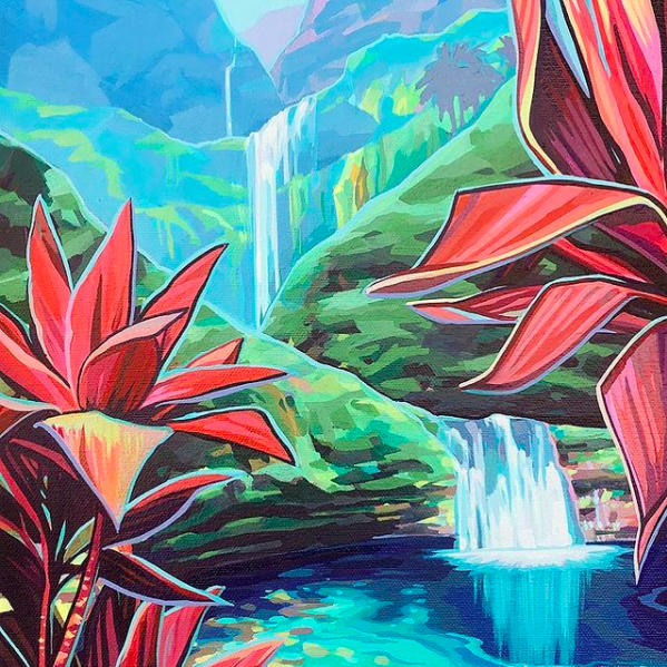 Christie Shinn painting of waterfall and red ti leaves