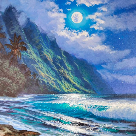 green mountain range and crashing waves at night Hawaii artists
