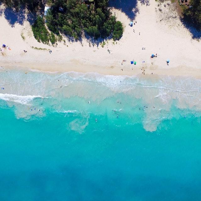 aerial view of Kailua Beach
