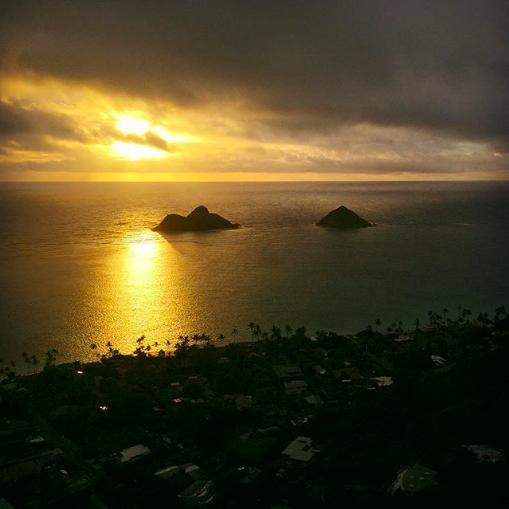 Lanikai pillbox hike on Oahu at sunrise