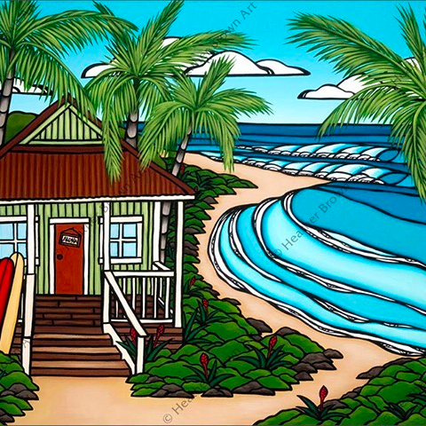 pop-art style painting of beach house and ocean by Heather Brown