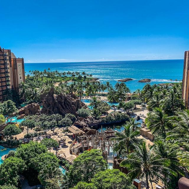 Disney Aulani  and Ko Olina Lagoons from above best Hawaii amusement parks