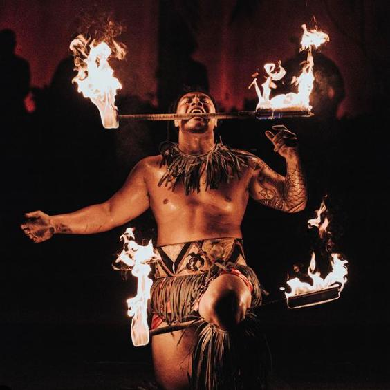 fire dancer at the Polynesian Cultural Center best Hawaii amusement parks