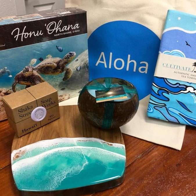 beach-themed Hawaii gift basket from Red Pineapple