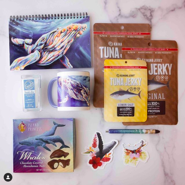 Contents of whale themed Hawaii gift baskets from The Hawaiian Box