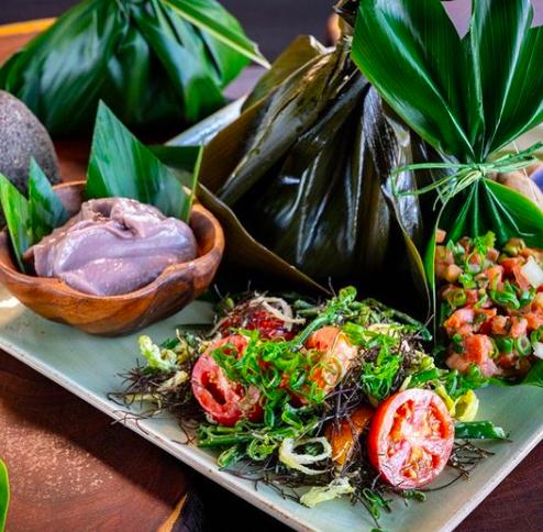 modern take on Hawaiian food from Huihui. Plate includes lomi lomi salmon, poi, and laulau
